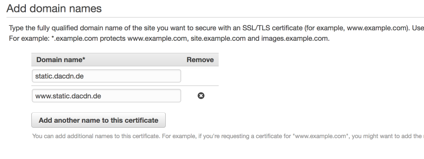 Adding domains to our certificate request