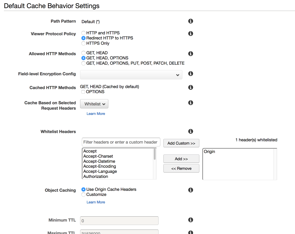 The cache behaviour settings for our CloudFront distribution