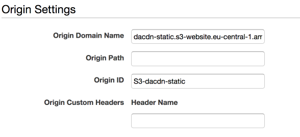 The settings for our CloudFront origin