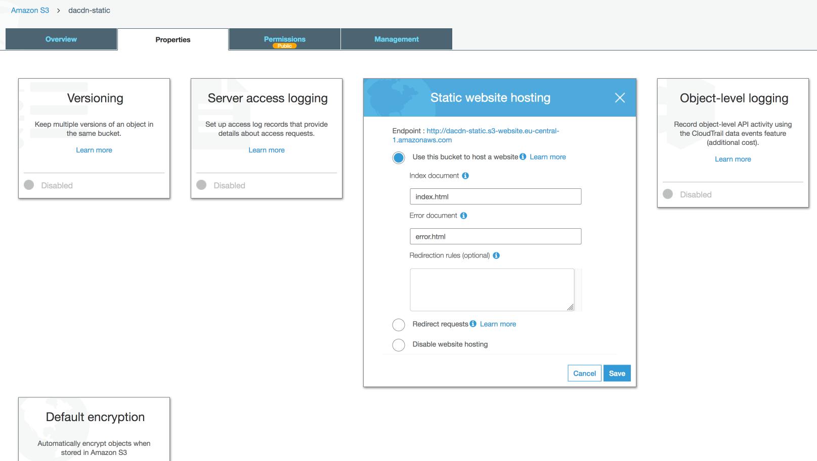 Enabling static website hosting